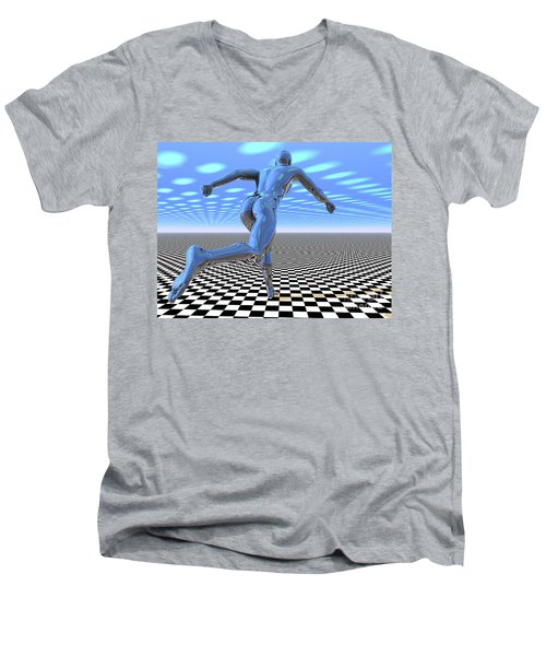 3d Runner Men's V-Neck T-Shirt