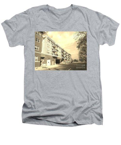 3rd Street Columbus Indiana - Sepia Men's V-Neck T-Shirt by Scott D Van Osdol