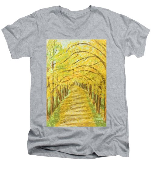 Autumn Landscape, Painting Men's V-Neck T-Shirt
