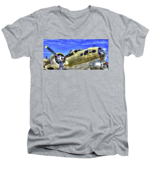 B-17 Men's V-Neck T-Shirt by Joe  Palermo