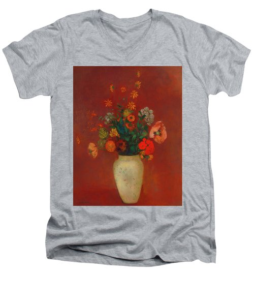 Men's V-Neck T-Shirt featuring the painting Bouquet In A Chinese Vase by Odilon Redon
