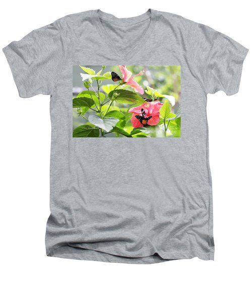 Cream-spotted Clearwing Butterfly Men's V-Neck T-Shirt