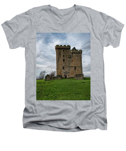 Men's V-Neck T-Shirt featuring the photograph Clackmannan Tower by Jeremy Lavender Photography