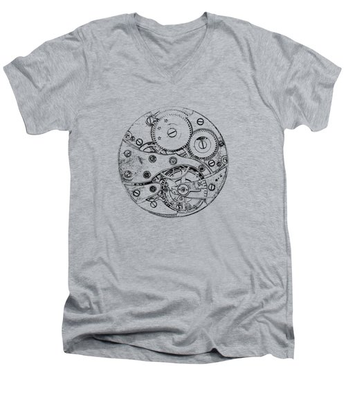 Men's V-Neck T-Shirt featuring the digital art Clockwork Mechanism by Michal Boubin