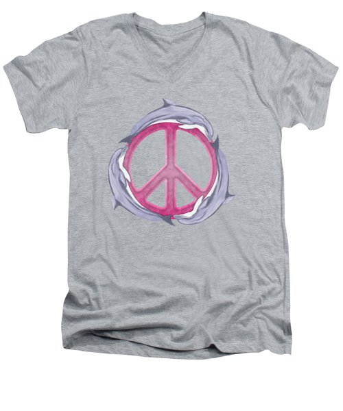 Dolphin Peace Pink Men's V-Neck T-Shirt by Chris MacDonald