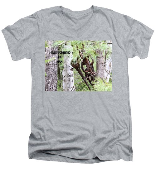Men's V-Neck T-Shirt featuring the photograph 4-ever Tortured By Man by Debbie Stahre