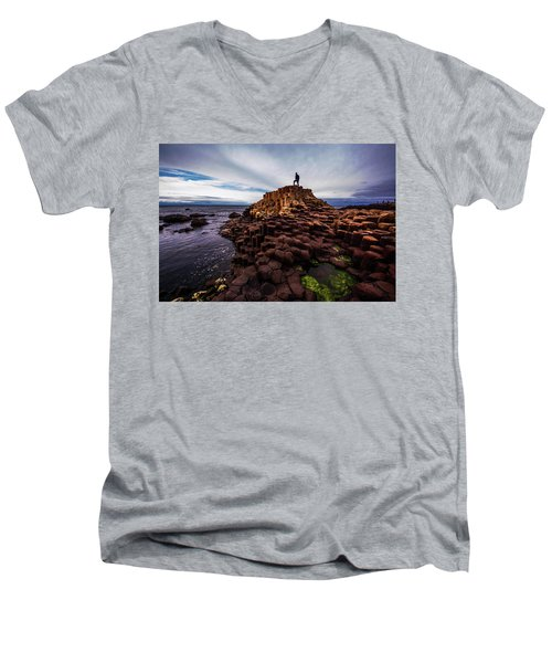 Man Atop Giant's Causeway Men's V-Neck T-Shirt
