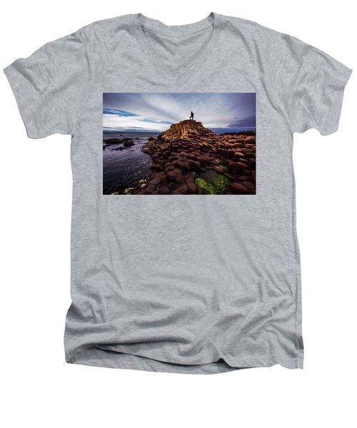 Man Atop Giant's Causeway Men's V-Neck T-Shirt