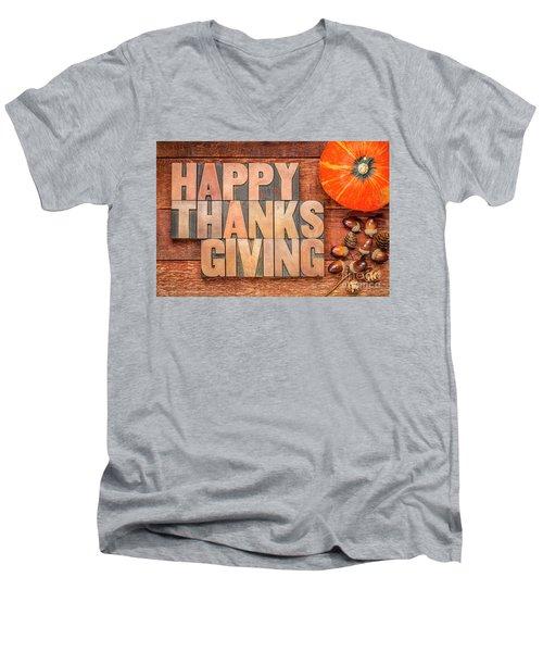 Happy Thanksgiving Greeting Card Men's V-Neck T-Shirt