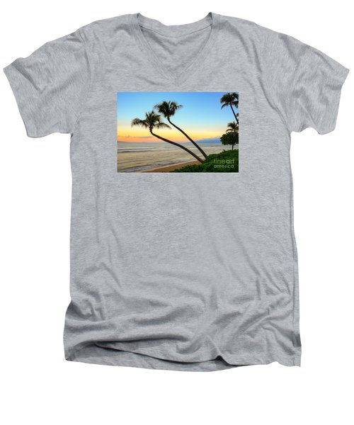Island Sunrise Men's V-Neck T-Shirt by Kelly Wade