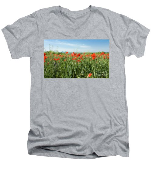 Meadow With Red Poppies Men's V-Neck T-Shirt by Irina Afonskaya