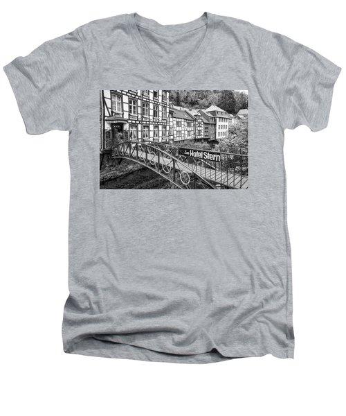 Monschau In Germany Men's V-Neck T-Shirt by Jeremy Lavender Photography