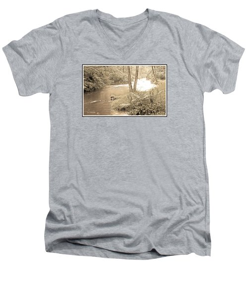 Men's V-Neck T-Shirt featuring the photograph Mud Run Pocono Mountain Stream Pennsylvania by A Gurmankin
