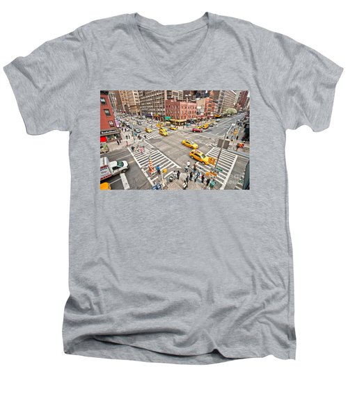 New York City Men's V-Neck T-Shirt by Luciano Mortula