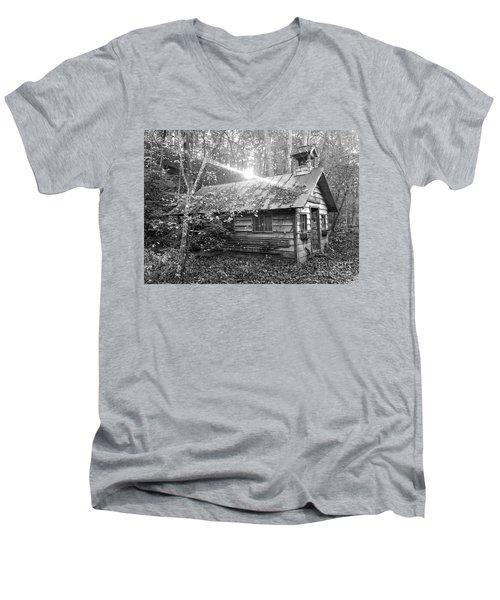One Room School House Gnawbone Indiana Men's V-Neck T-Shirt by Scott D Van Osdol