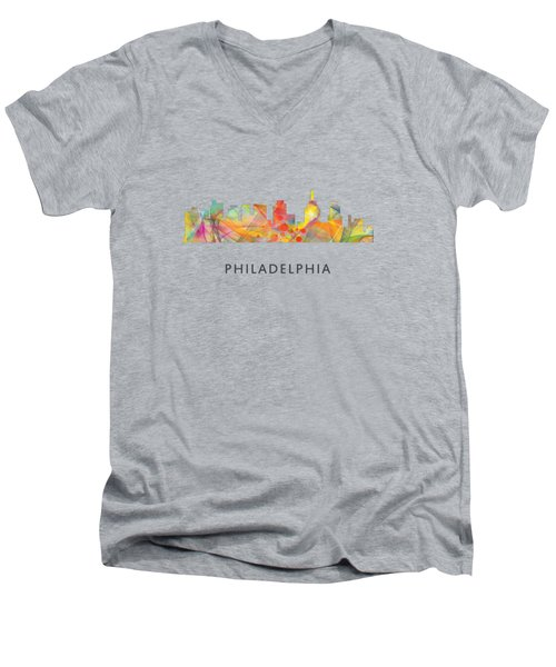Philadelphia Pennsylvania Skyline Men's V-Neck T-Shirt