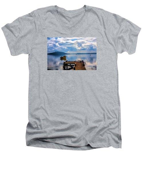 Quiet Lake Men's V-Neck T-Shirt by Rick Bragan