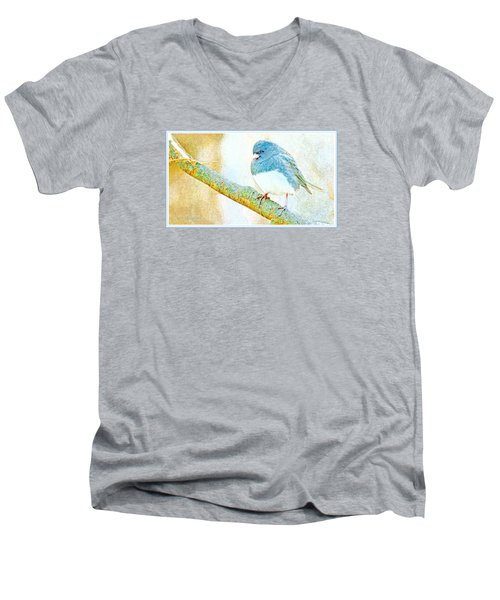 Men's V-Neck T-Shirt featuring the digital art Slate Colored Junco Snowbird Male Animal Portrait by A Gurmankin