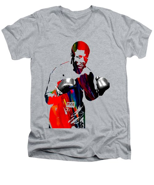 Smokin Joe Frazier Collection Men's V-Neck T-Shirt by Marvin Blaine
