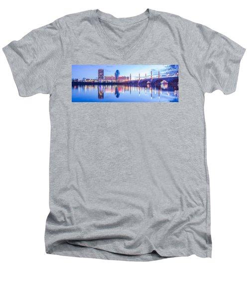 Springfield Massachusetts City Skyline Early Morning Men's V-Neck T-Shirt