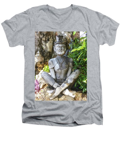 Statue Depicting A Thai Yoga Pose At Wat Pho Temple Men's V-Neck T-Shirt
