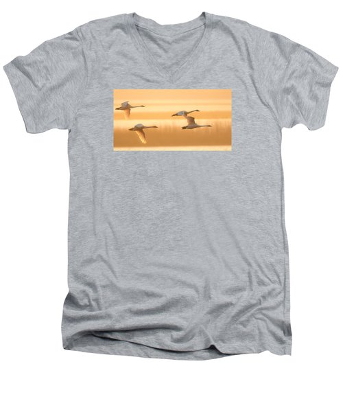 4 Swans Men's V-Neck T-Shirt by Kelly Marquardt