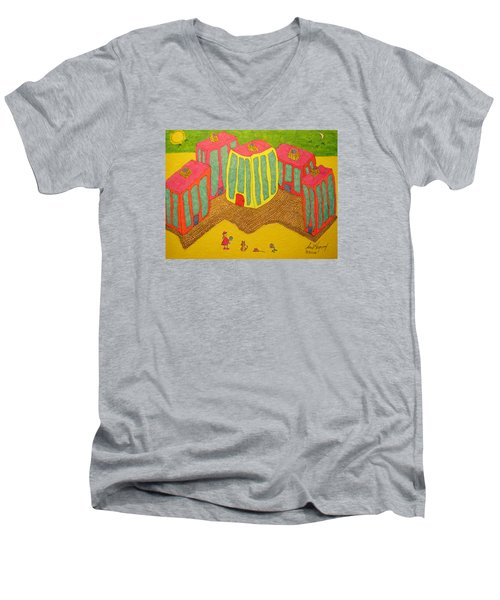 4 Tall Buildings, Girl, And Cat Men's V-Neck T-Shirt
