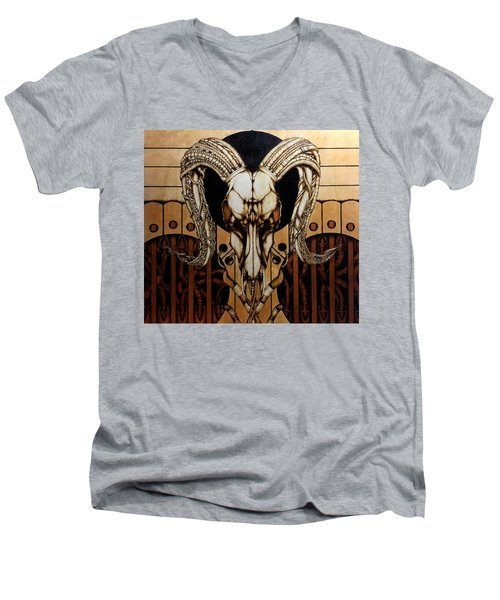 Men's V-Neck T-Shirt featuring the pyrography Untitled by Jeff DOttavio