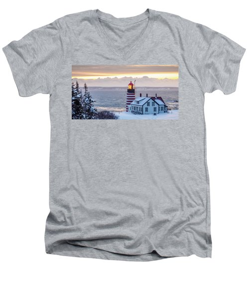 West Quoddy Lighthouse Men's V-Neck T-Shirt by Trace Kittrell