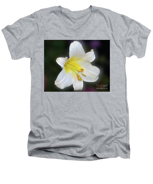 Men's V-Neck T-Shirt featuring the photograph White Lily by Elvira Ladocki