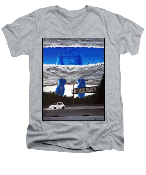 405 N. At Roscoe Men's V-Neck T-Shirt by Chris Benice