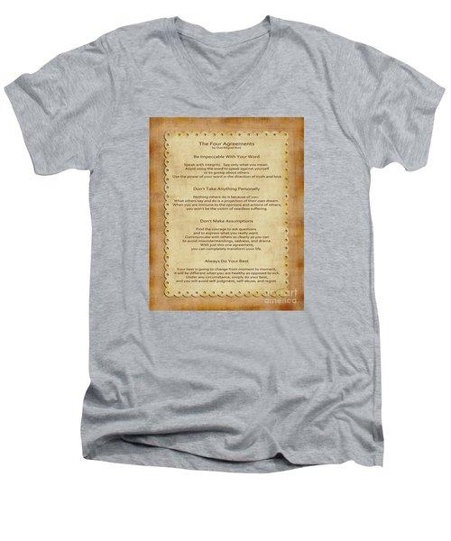 41- The Four Agreements Men's V-Neck T-Shirt by Joseph Keane