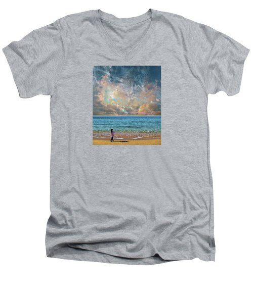 Men's V-Neck T-Shirt featuring the photograph 4410 by Peter Holme III