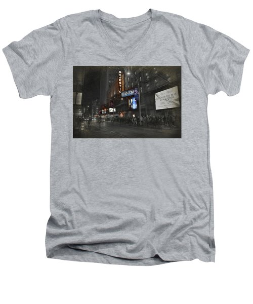 44th Street Nyc Men's V-Neck T-Shirt by Dyle Warren