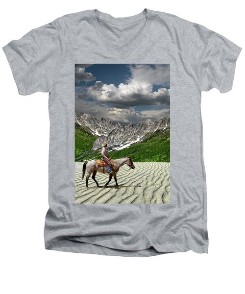 Men's V-Neck T-Shirt featuring the photograph 4513 by Peter Holme III