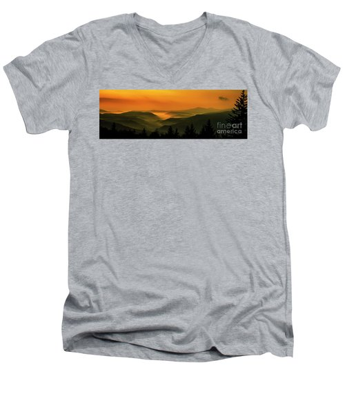 Men's V-Neck T-Shirt featuring the photograph Allegheny Mountain Sunrise by Thomas R Fletcher