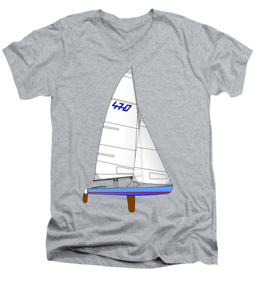 470 Olympic Sailboat Men's V-Neck T-Shirt