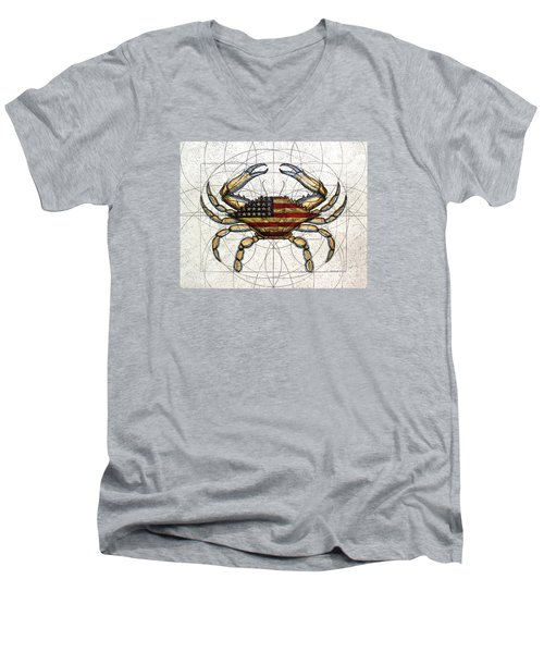 4th Of July Crab Men's V-Neck T-Shirt by Charles Harden