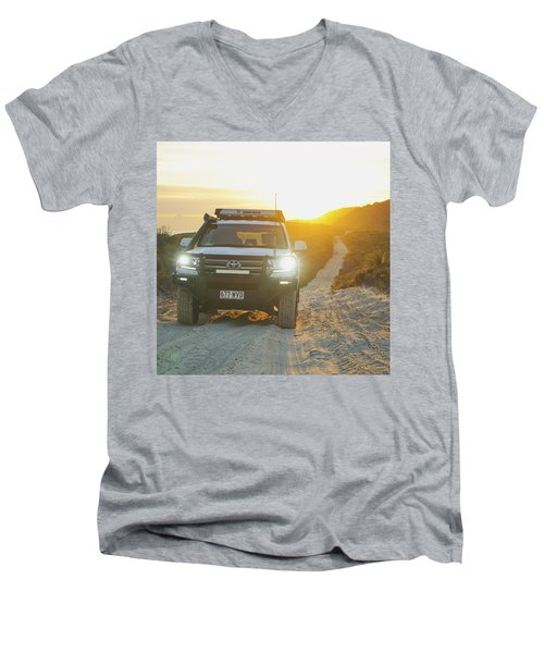 4wd Car Explores Sand Track In Early Morning Light Men's V-Neck T-Shirt