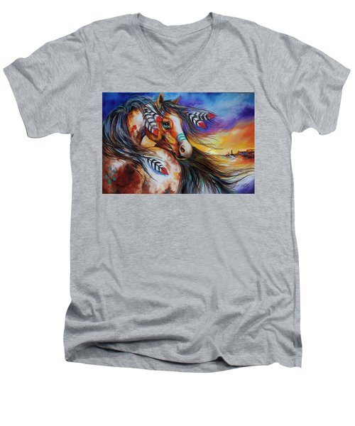 5 Feathers Indian War Horse Men's V-Neck T-Shirt by Marcia Baldwin