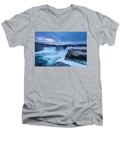 Godafoss Waterfall In Iceland Men's V-Neck T-Shirt by Joe Belanger