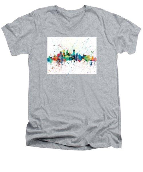 Minneapolis Minnesota Skyline Men's V-Neck T-Shirt