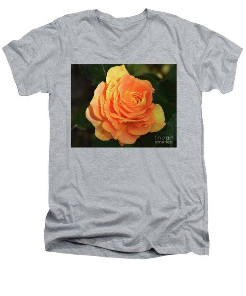 Men's V-Neck T-Shirt featuring the photograph Orange Rose by Elvira Ladocki