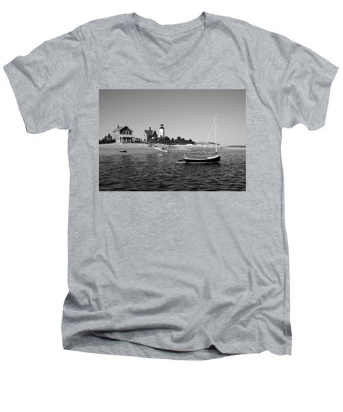 Men's V-Neck T-Shirt featuring the photograph Sandy Neck Lighthouse by Charles Harden