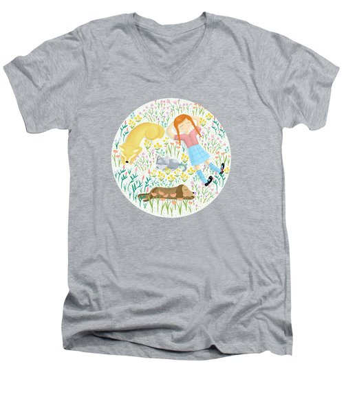 Summer Afternoon With Dogs, Cats And Clouds Men's V-Neck T-Shirt