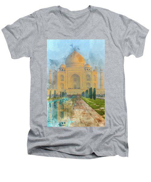 Taj Mahal In Agra India Men's V-Neck T-Shirt