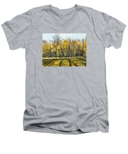 Watercolor Landscape Autumn Painting Forest Men's V-Neck T-Shirt by Odon Czintos