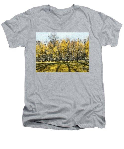 Watercolor Landscape Autumn Painting Forest Men's V-Neck T-Shirt