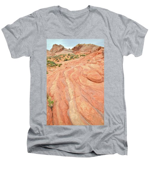 Men's V-Neck T-Shirt featuring the photograph Wave Of Color In Valley Of Fire by Ray Mathis
