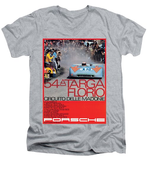 54th Targa Florio Porsche Race Poster Men's V-Neck T-Shirt